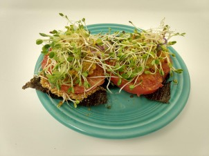 2 Land and Sea Crackers w Heirloom Tomato & Sprouts 2