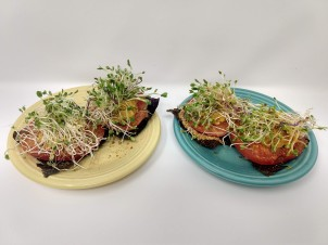 2 plates, 2 Land and Sea Crackers w Heirloom Tomato & Sprouts