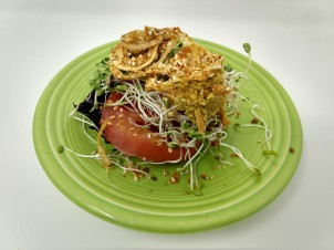 Land and Sea Crackers w Heirloom Tomato & Sprouts & ONion Rings 1